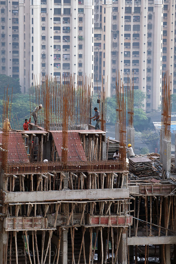 Aerial view of a high-rise building under construction in the Powai area of Mumbai, India.
