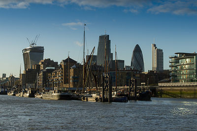 City of London river barges Wapping