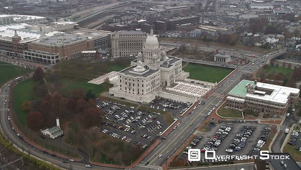 Orbiting Capitol Building in Providence, Rhode Island. Shot in November
