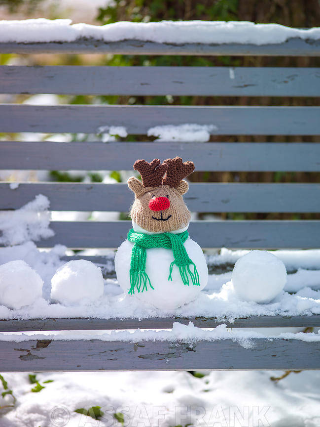 Cute snowman deer on bench covered with snow outdoors