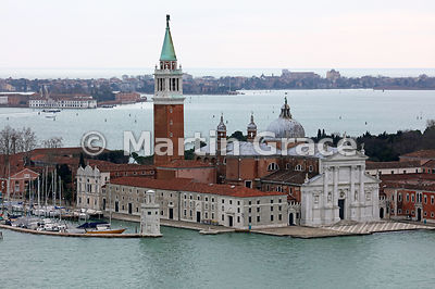 The Palladio-designed church of San Giorgio Maggiore  from the north-west, Venice, Italy