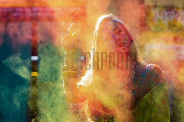 Young Woman Playing Holi at the Kumartuli Neighborhood