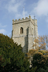 Stone-built tower of Sidmouth Parish Church of St Giles & St Nicholas, Sidmouth, Devon, England
