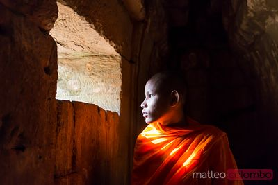 Monk inside Angkor Wat complex, Cambodia