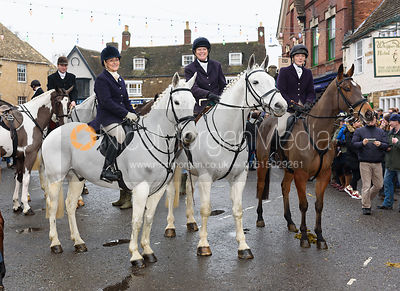Jo Rutter, Monica Tebbutt-Wheat, Jodie Parr At the meet. The Cottesmore Hunt Boxing Day Meet in Oakham 26/12