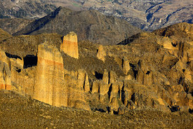View across rock formations above Palca Canyon, La Paz Department, Bolivia