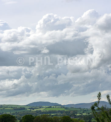UK Weather. Stormy clouds over the Shropshire countryside.