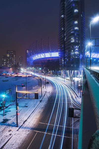Frigid Georgia Viaduct View of BC Place