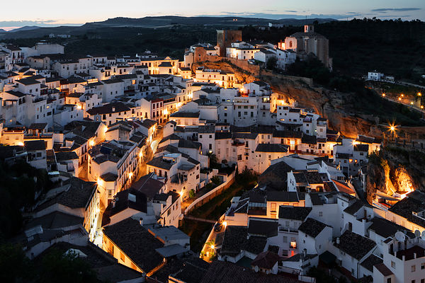 Elrevated View of Setenil at Dusk