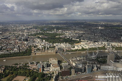aerial photograph of Westminster and the Houses of Parliament  London England UK showing Buckingham Palace, Horse Guards Para...