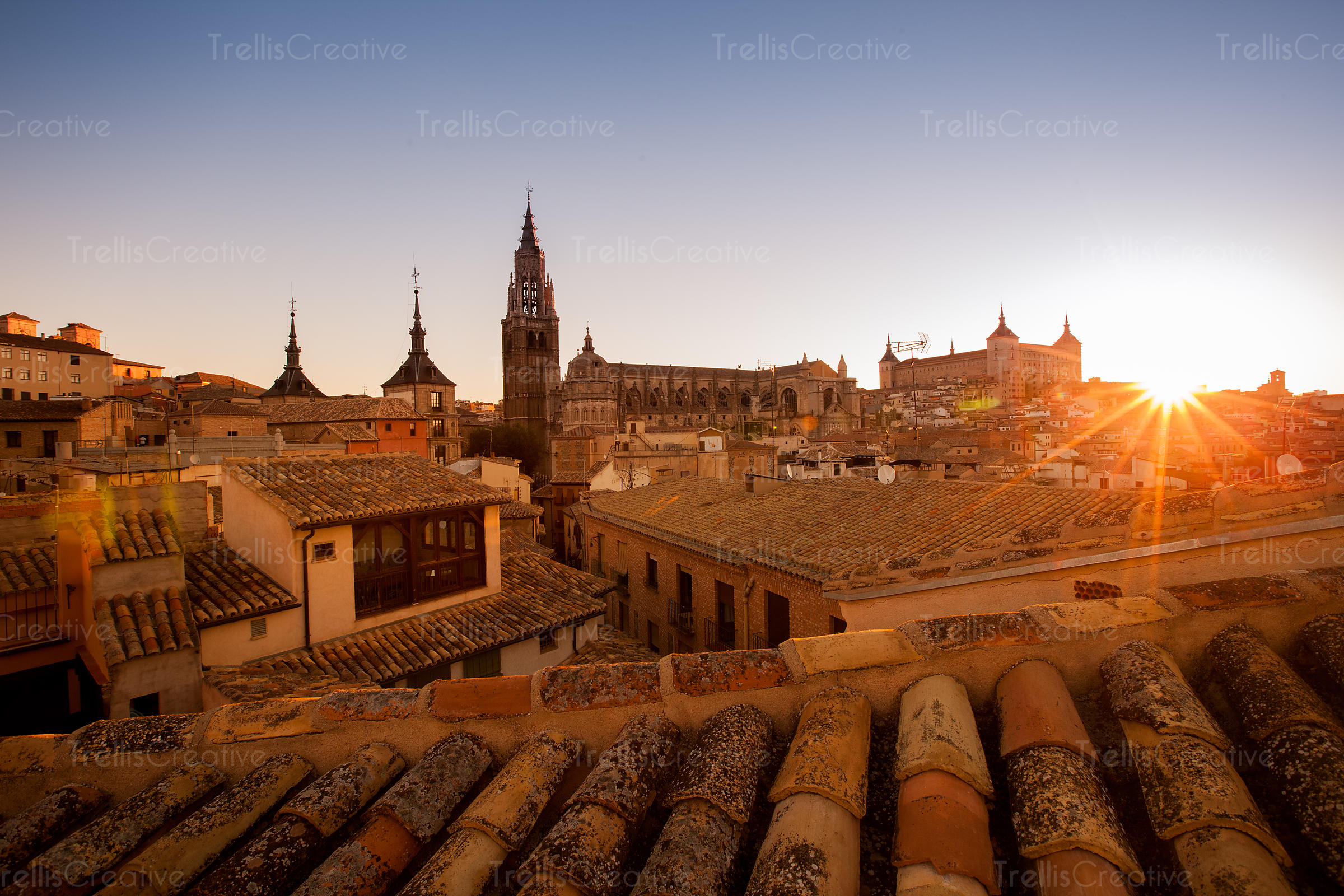 Sun rises over the historic town of Toledo, Spain