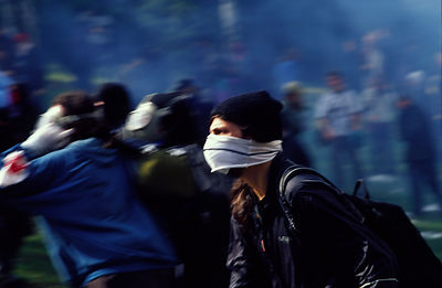 Czech Republic - Prague - Demonstrators rush towards police lines