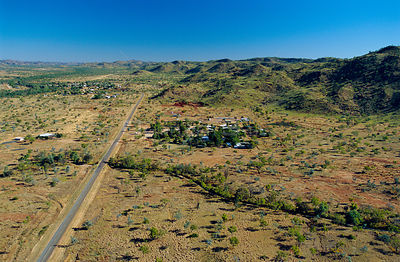 Aerial view of Turkey creek, gateway to Bungle bungle, Western Australia Great Northern