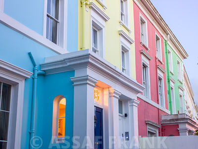 Colorful english houses facades in Notting Hill, London