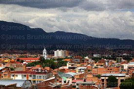 View of city and San Roque church tower from Loma de San Juan Mirador, Tarija, Bolivia