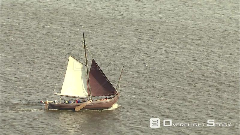 Traditional sailboat on Tjeukemeer, The Netherlands