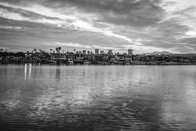 Newport Beach California Skyline Black and White Photo