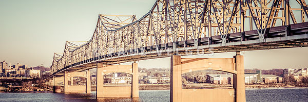 Peoria Illinois Bridge Retro Panorama Photo