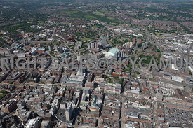 Leeds high level aerial view of the Headrow and the retail centre of the city looking towards the First Direct Arena