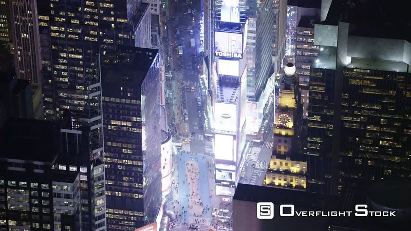 Looking Down at Times Square at Night.