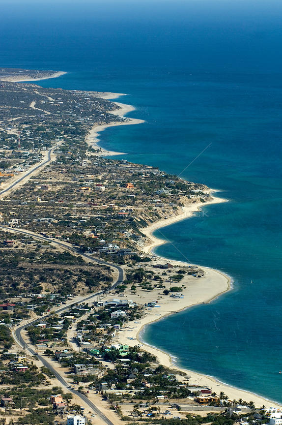 Aerial view of Rosarito town coastal development, Baja California, Mexico, April 2008