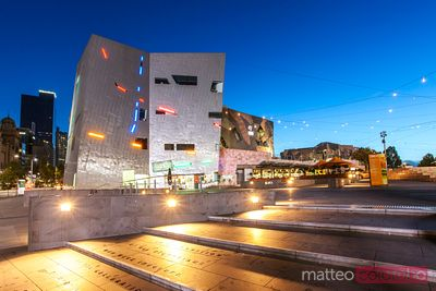Federation square at night, Melbourne, Victoria, Australia