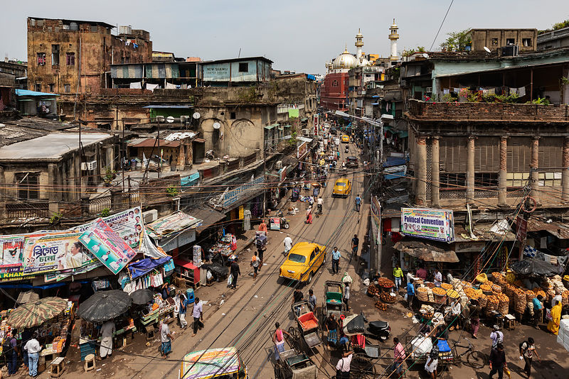 Elevated View of a Traffic Crossing on Mahatma Ghandi Road and the Nakhoda Mosque
