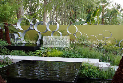 Contemporary garden, Digital, Geometrical pool, Trellis, Tropical garden