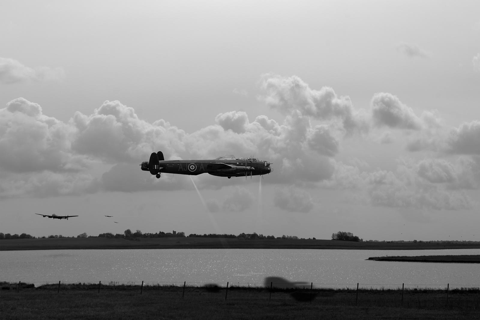 Dambusters Lancasters at Abberton BW version