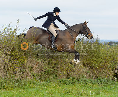 Fiona Applewhite jumping a hedge near Clawson Thorns