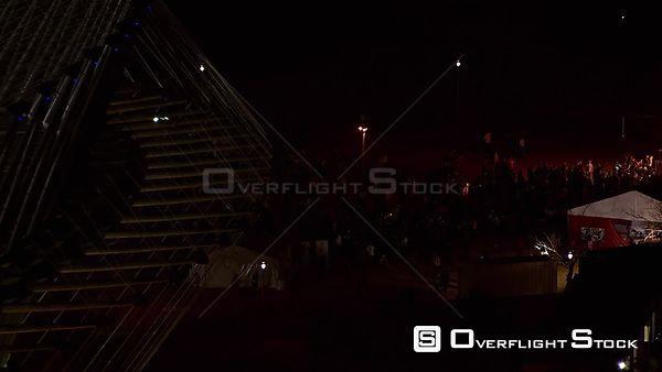 Aerial over a crowd of people outside the Royal Bafokeng Stadium in Rustenburg. Rustenburg North West South Africa