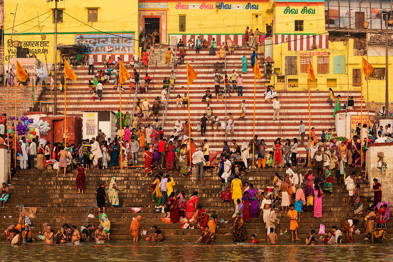 Devotees Bathing at Kedar Ghat