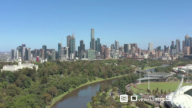 Australia Melbourne Cityscape and Sports Arenas