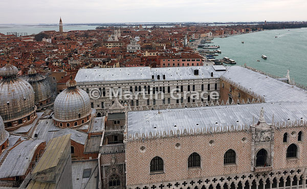Looking east from The Camapanile over the Palazzo Ducale (Doge's Palace), Venice, Italy