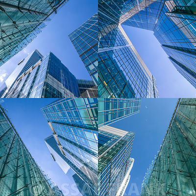 Collage of high rise office buildings, Canary Wharf, London