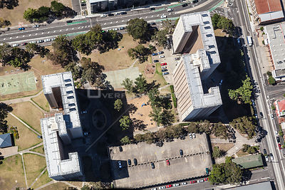 Aerial view of the high rose flats in Richmond, Melbourne. Australia