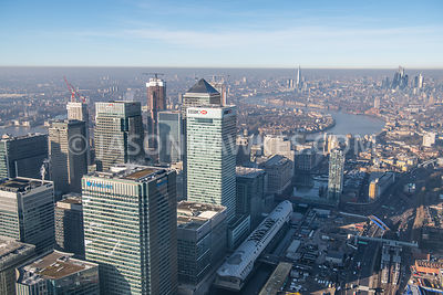Aerial view of North Quay, Canary Wharf, London