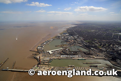 aerial photograph of Grimsby North East Lincolnshire UK