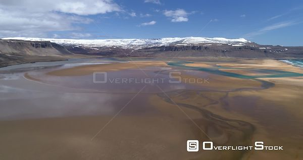 Aerial Colorful River Delta Raudsandur Beach West Fjords Iceland