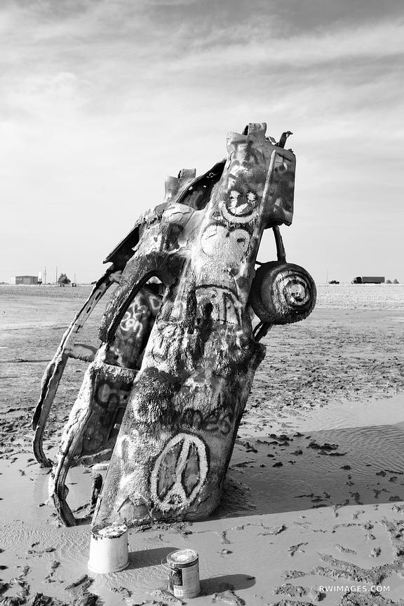 CADILLAC RANCH AMARILLO TEXAS ROUTE 66 BLACK AND WHITE VERTICAL