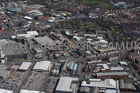 Bury aerial photograph looking across South Cross Street industrial sites towards Rochdale Road and other Industrial areas in...