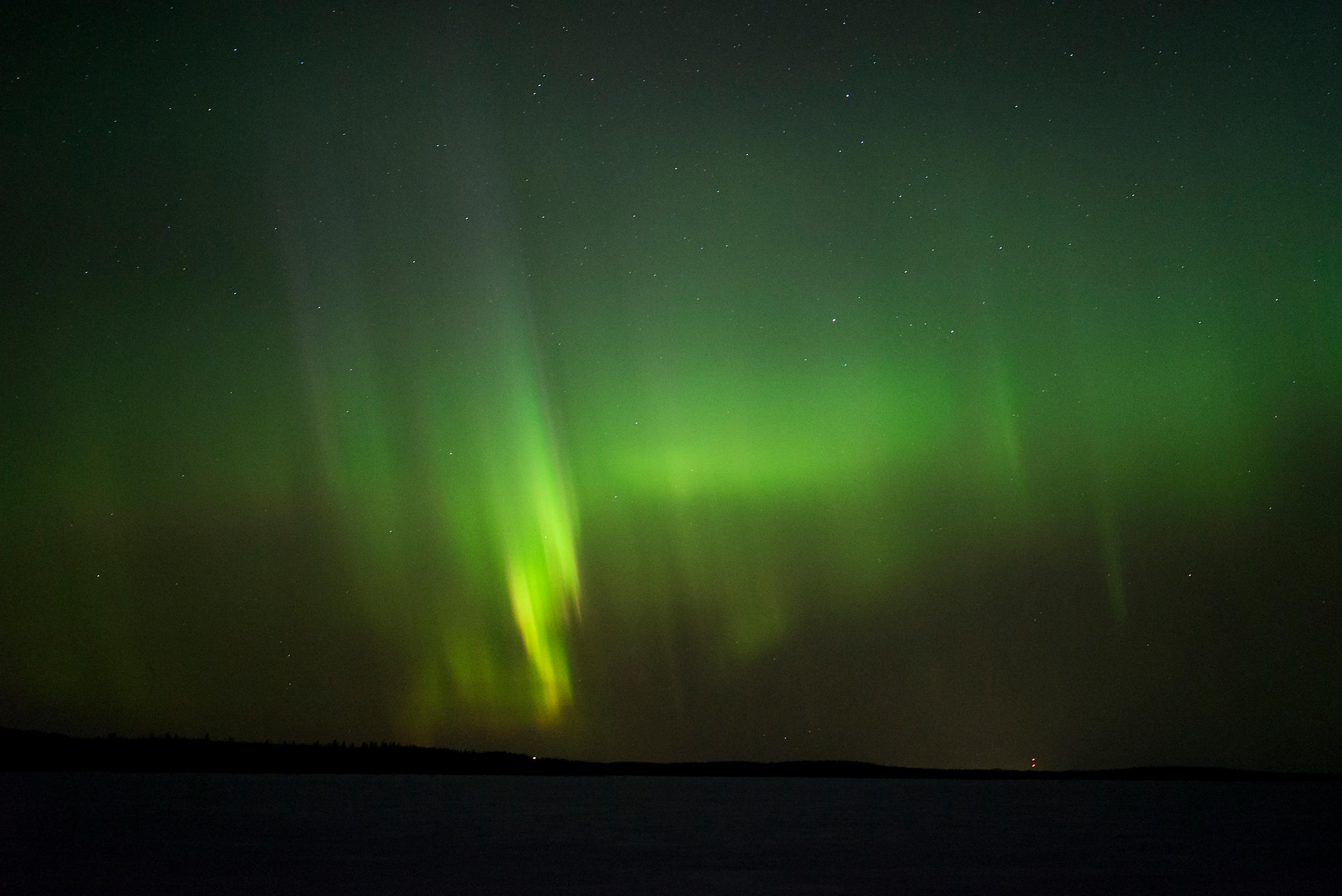 Northern Lights above lake Päijänne on March 18 2018.