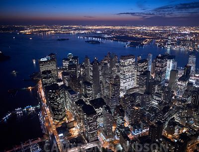 Nighttime Aerial photograph New York City Financial District