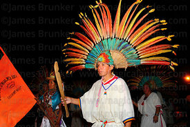 Machetero dancer during night procession, San Ignacio de Moxos, Bolivia