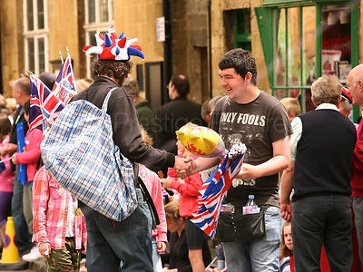 Street Vendors Shaking Hands at the Olympic Torch Relay