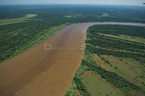 "Aerial view of amazon ""várzea"" flooded Rainforest of the Mamoré River, during the great flood of 2008, at the border of Brazi..."