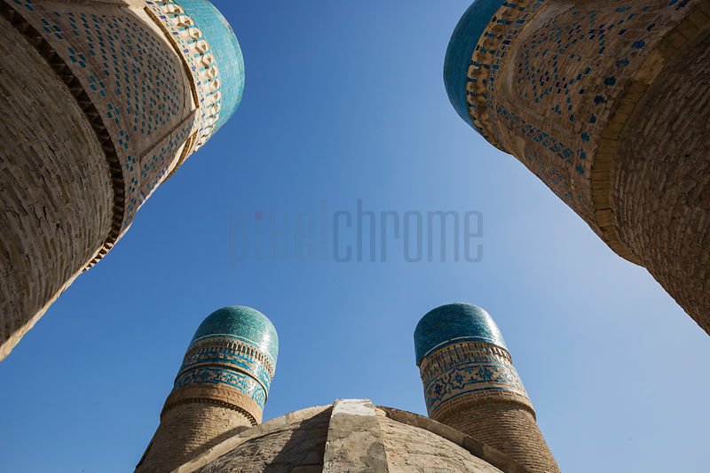 Wide Angle View of the Minarets of Chor Minor from Below