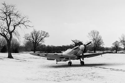 Spitfire in the snow black and white version