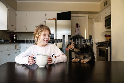 Dachshund and Girl at Kitchen Table 1