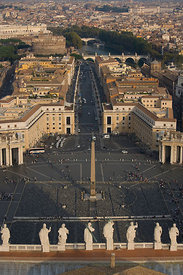 Looking down on St Peters Piazza from the dome of St Peter's, Vatican, Rome, Italy, October 2008